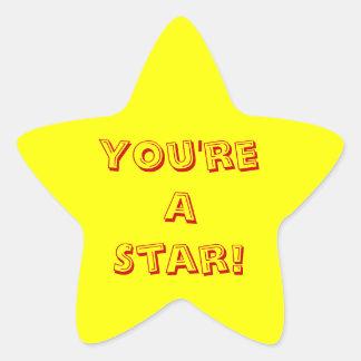 Usted es una estrella pegatina en forma de estrella