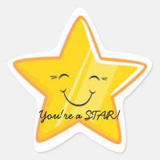 ¡USTED es UNA ESTRELLA!!! Pegatina En Forma De Estrella