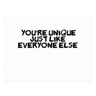 usted es único apenas como cada uno postales