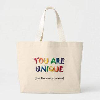 Usted es único bolsa tela grande