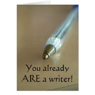 ¡Usted ES ya escritor! (con la pluma) Tarjeta De Felicitación