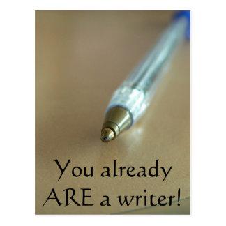 ¡Usted ES ya escritor! (con la pluma) Postal