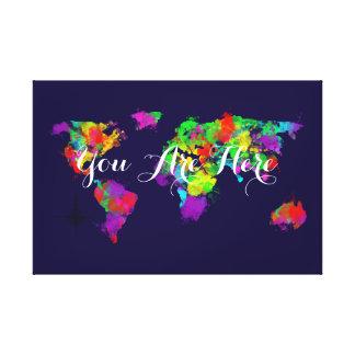 Usted está aquí mapa del mundo colorido impresión en lienzo