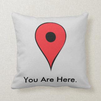 Usted está aquí Pin del mapa Cojín