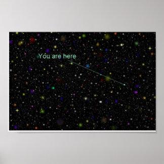 """""""Usted está aquí"""" poster del espacio profundo Póster"""