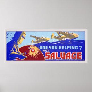 ¿Usted está ayudando?  Salvamento - WPA Póster