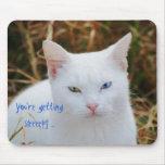 Usted está consiguiendo ojo soñoliento, blanco del tapete de raton