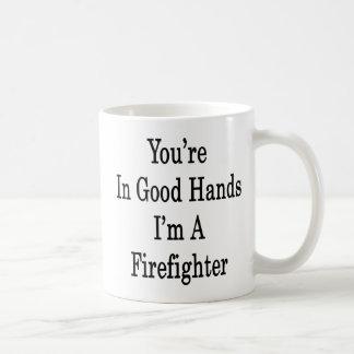 Usted está en buenas manos que soy bombero tazas de café