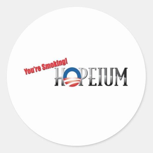 Usted está fumando Hopeium Pegatina Redonda
