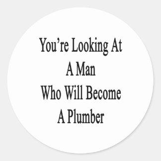 Usted está mirando a un hombre que haga fontanero pegatinas redondas
