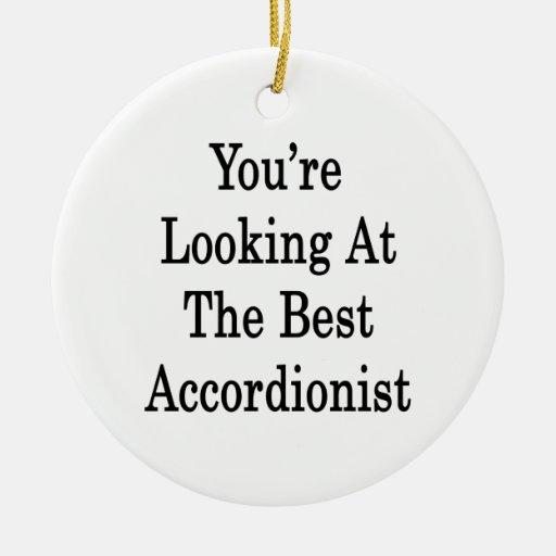 Usted está mirando al mejor acordeonista adorno redondo de cerámica