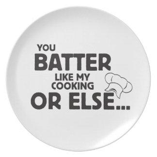 Usted estropea como mi cocinar platos