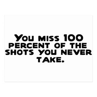 Usted falta el 100 por ciento de los tiros que ust postales