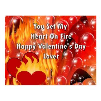 Usted fijó mi corazón en el fuego Valentine&apos Tarjetas Postales