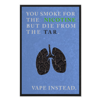 Usted fuma para la nicotina pero muere del póster