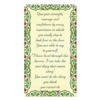 Usted gana fuerza, valor y confianza cerca tarjetas de visita