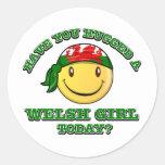 ¿usted ha abrazado a un chica Galés hoy? Pegatina Redonda