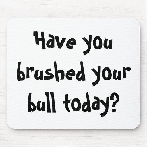 ¿Usted ha cepillado su toro hoy? Alfombrilla De Ratones