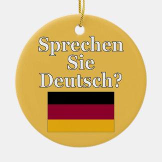¿Usted habla alemán? en alemán. Bandera Adorno Navideño Redondo De Cerámica