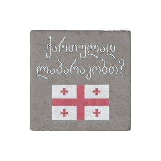 ¿Usted habla georgiano? en georgiano. Bandera Imán De Piedra