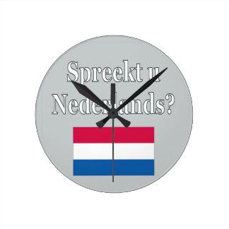 ¿Usted habla holandés? en holandés. Bandera Reloj Redondo Mediano