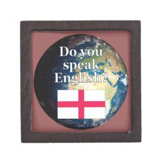 """¿""""Usted habla inglés? """"en inglés. Bandera y tierra Cajas De Joyas De Calidad"""