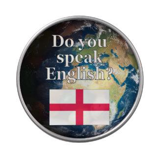 """¿""""Usted habla inglés? """"en inglés. Bandera y tierra Jarrones De Caramelos"""