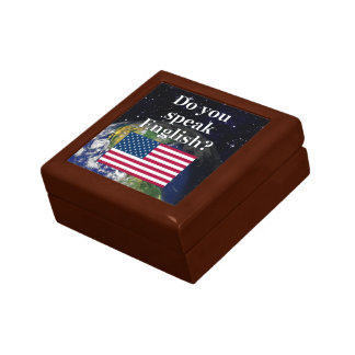 ¿Usted habla inglés? en inglés. Bandera y tierra Caja De Joyas