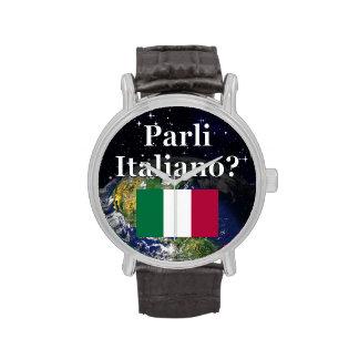 ¿Usted habla italiano? en italiano. Bandera y Relojes