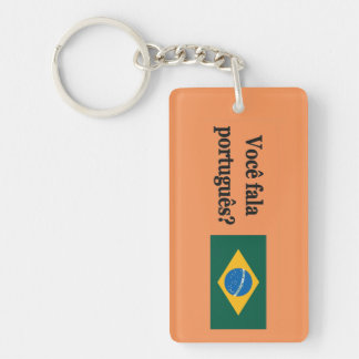 ¿Usted habla portugués? en portugués. FB de la Llavero Rectangular Acrílico A Doble Cara