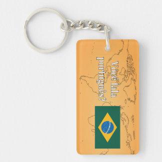 ¿Usted habla portugués? en portugués. Wf de la Llavero Rectangular Acrílico A Doble Cara