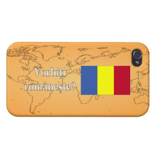 ¿Usted habla rumano? en rumano. Wf de la bandera iPhone 4 Cárcasa