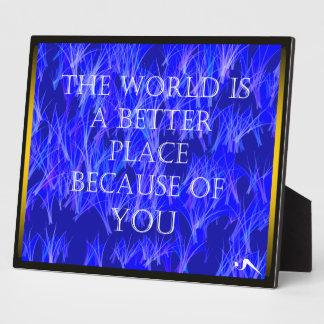Usted hace el mundo una mejor placa