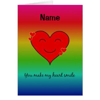 Usted hace mi arco iris de la sonrisa del corazón tarjeta de felicitación