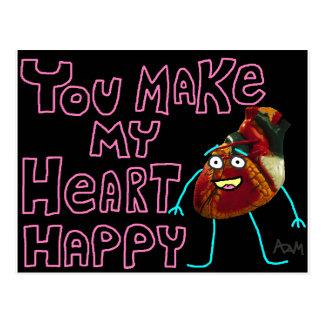 """""""Usted hace mi corazón"""" la postal feliz"""