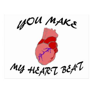 Usted hace mi golpe de corazón tarjeta postal