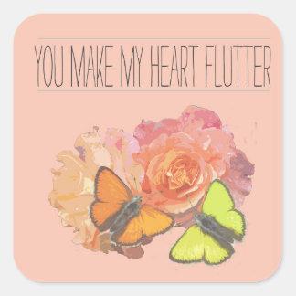 Usted hace que mi corazón agita pegatina cuadrada