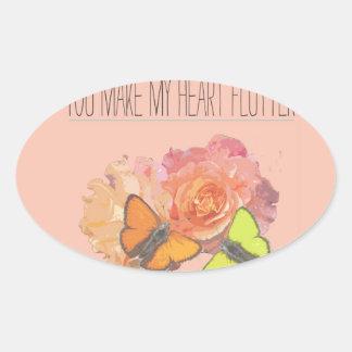 Usted hace que mi corazón agita pegatina ovalada