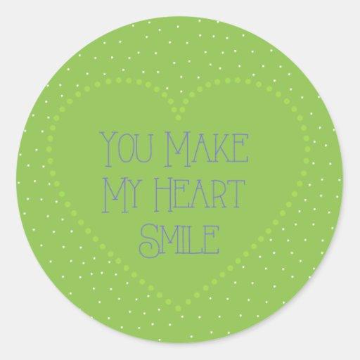 Usted hace que mi corazón sonríe pegatina redonda