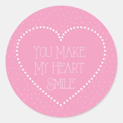 Usted hace que mi corazón sonríe • Rosa Pegatina Redonda
