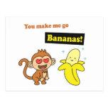 Usted hace que va los plátanos, humor lindo del am postales