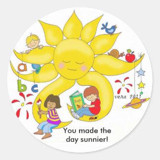 ¡Usted hizo el día más soleado! Pegatina Redonda