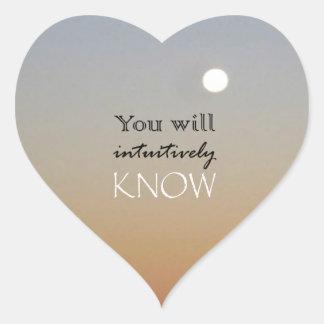 Usted intuitivo sabrá pegatina en forma de corazón