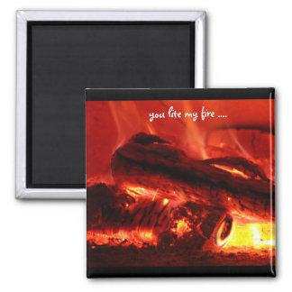 usted lite mi fuego….imán imán cuadrado