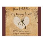 Usted lleva a cabo la llave a mi corazón postal