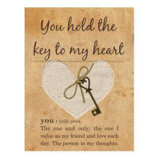 Usted lleva a cabo la llave a mi corazón postales