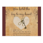 Usted lleva a cabo la llave a mi corazón tarjetas postales