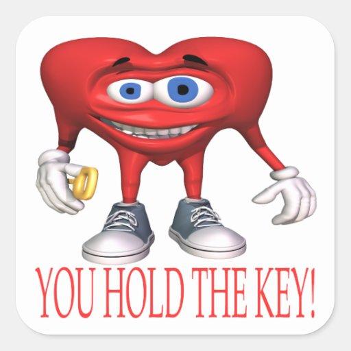 Usted lleva a cabo la llave pegatina cuadrada