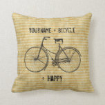 Usted más la bicicleta iguala amarillo antiguo fel cojines