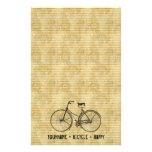 Usted más la bicicleta iguala amarillo antiguo fel papeleria personalizada